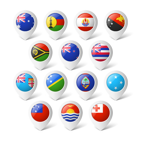 flag french icon: Map pointers with flags  Oceania  Illustration