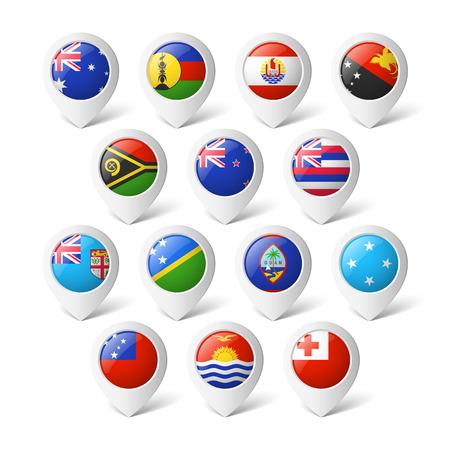 bandera de nueva zelanda: Punteros con banderas Oceanía