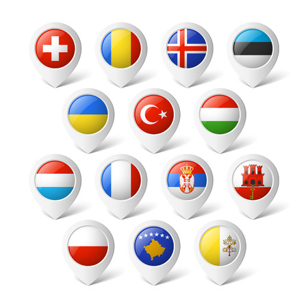 Map pointers with flags  Europe Stock Vector - 26740847