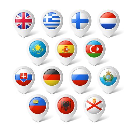 Mapa ukazatele s vlajkami Evropě Ilustrace
