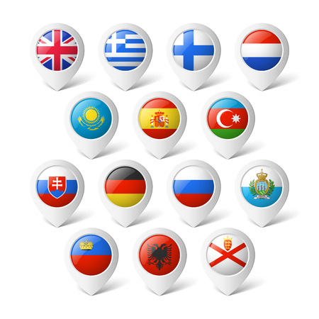 spain map: Mappa puntatori con bandiere Europa