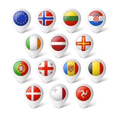 drapeau portugal: Carte des pointeurs avec des drapeaux en Europe Illustration