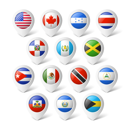 Map Pointers With Flags South America Royalty Free Cliparts