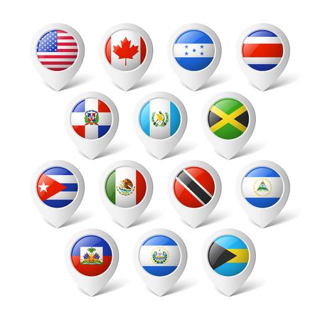 banderas del mundo: Punteros con banderas de América del Norte Vectores