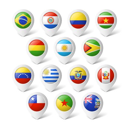 ecuador: Wijzers van de kaart met vlaggen van Zuid-Amerika Stock Illustratie
