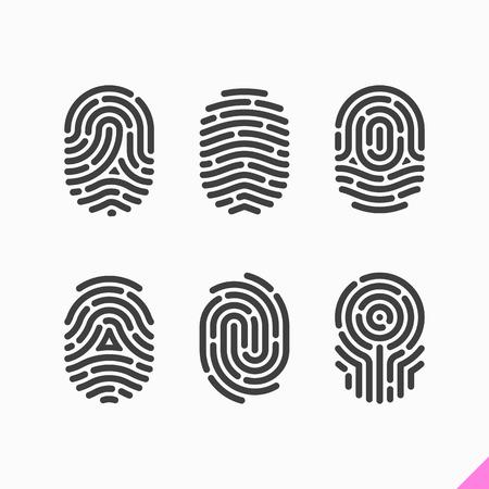 autorizacion: Iconos de huellas digitales establecidos