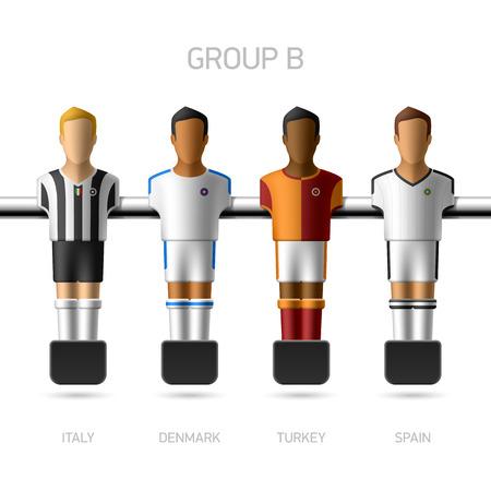 Jugadores de futbolín futbolín campeonato europeo Vectores