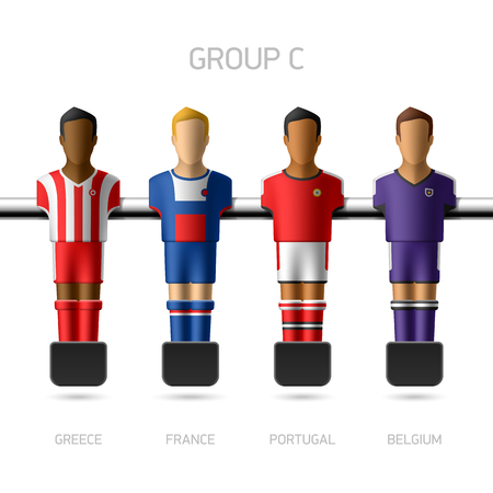 Table football   foosball players  European championship  Vector