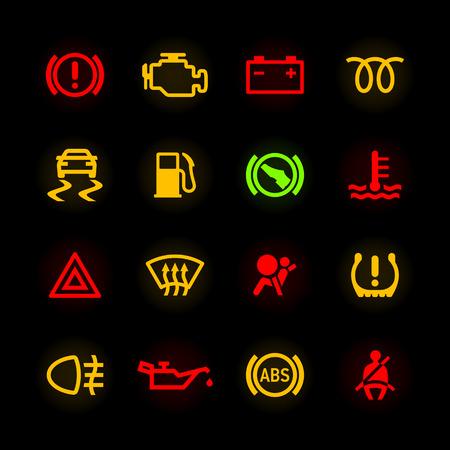 автомобили: Значки приборной панели автомобиля Иллюстрация