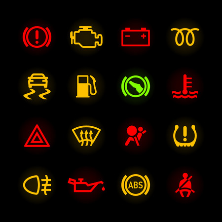 Auto dashboard pictogrammen Stock Illustratie