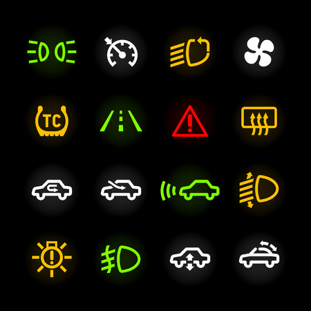 Vector Collection Of Car Dashboard Panel Warning Light Indicators - Car sign on dashboard