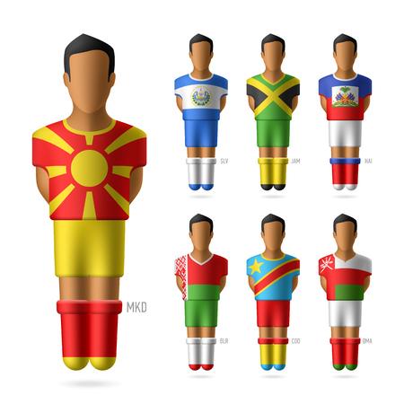 bandera de el salvador: Jugadores de fútbol de fútbol de los equipos nacionales Vectores