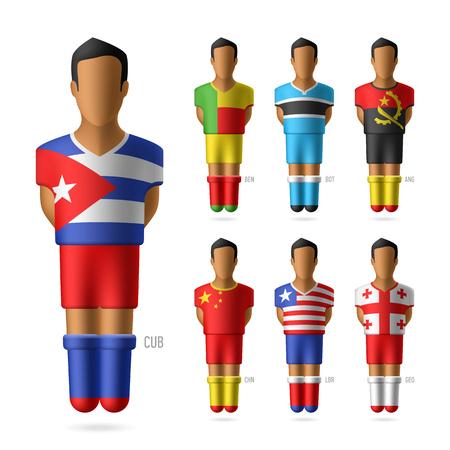jugador de futbol: Jugadores de f�tbol de f�tbol de los equipos nacionales Vectores