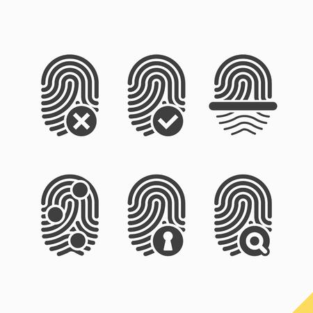 empreinte du pouce: Ic�nes empreintes digitales d�finies Illustration