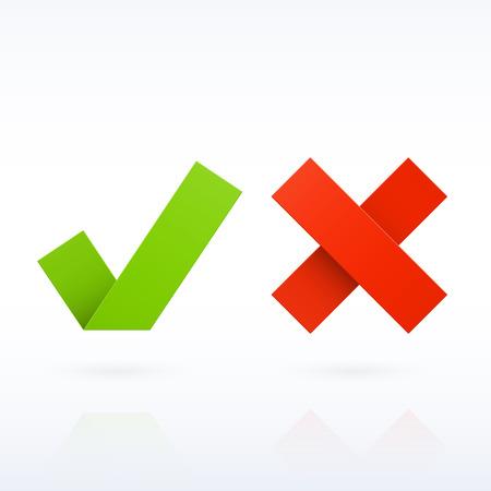 Ja of Nee papier vinkjes Vector Illustratie