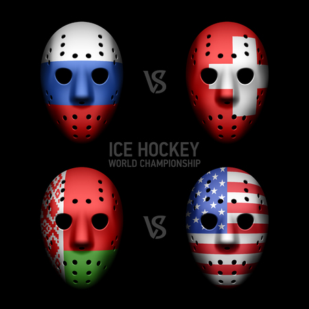 Goalie masks with flags Vector