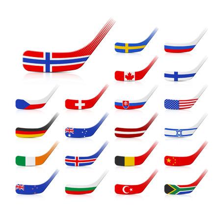 czech switzerland: Bastoni da hockey su ghiaccio con le bandiere Vettoriali