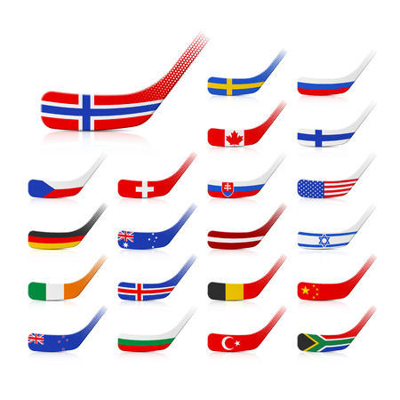 Ice hockey sticks with flags Vector