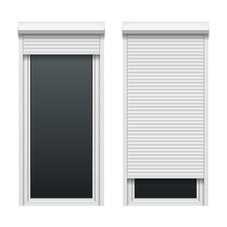 shutters: Door with roller shutters Illustration