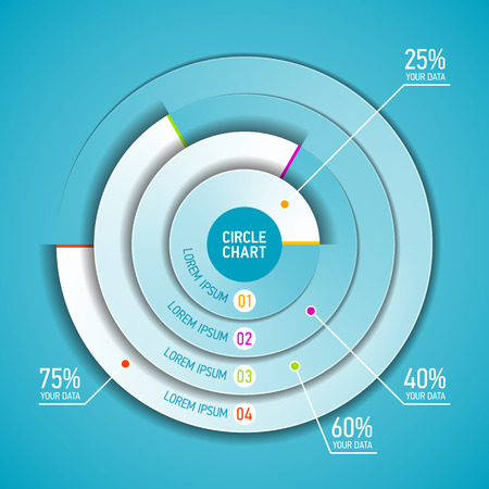 hierarchy chart: Circle chart infographic template Illustration