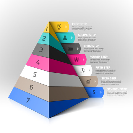 plantilla: Pirámide acodada pasos elemento de diseño Vectores