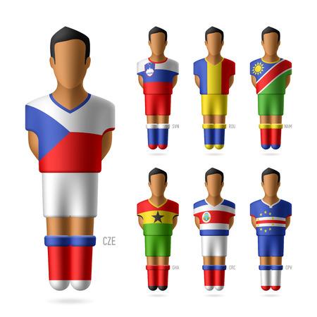 uniforme de futbol: Jugadores de fútbol de fútbol en banderas nacionales uniformes Vectores