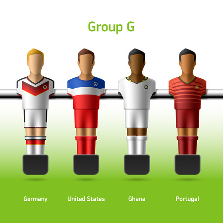Table football   foosball players World soccer championship in Brazil 2014 Vector