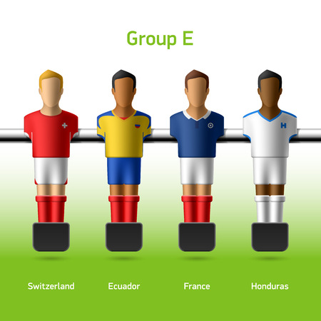 sports bar: Table football   foosball players World soccer championship in Brazil 2014 Illustration
