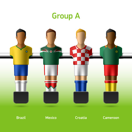 tabletop: Table football   foosball players World soccer championship in Brazil 2014 Illustration