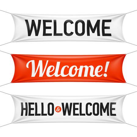 de bienvenida: Hola y pancartas de bienvenida