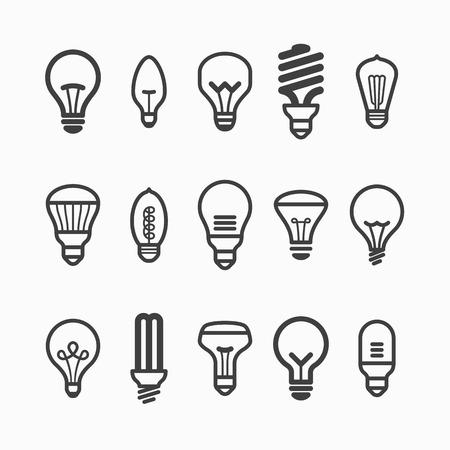 осветительное оборудование: Свет лампы иконки Иллюстрация