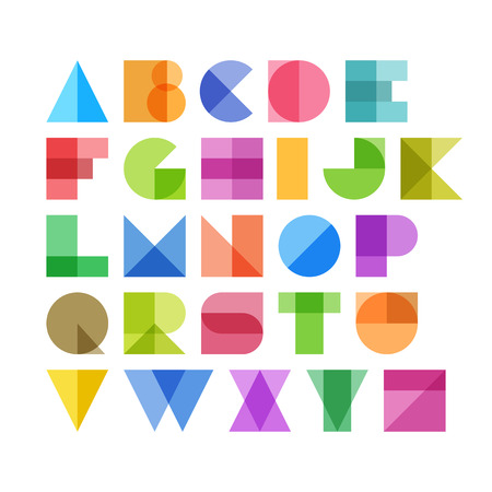 Geometric shapes alphabet letters 向量圖像