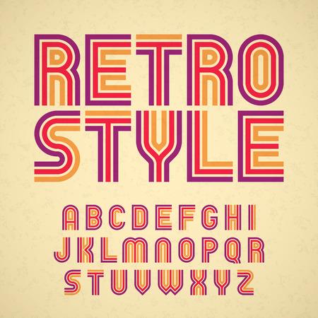 lettre alphabet: Alphabet de style rétro Illustration