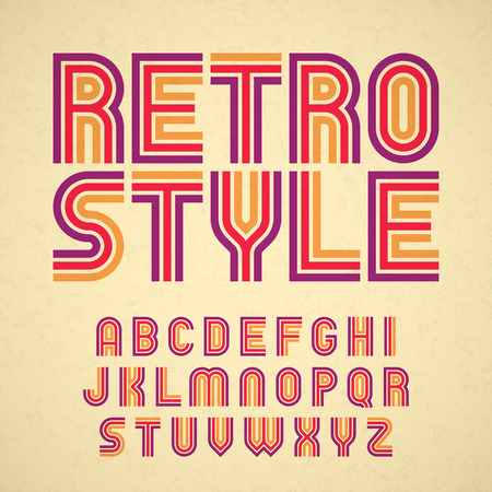 Retro style alphabet Ilustração