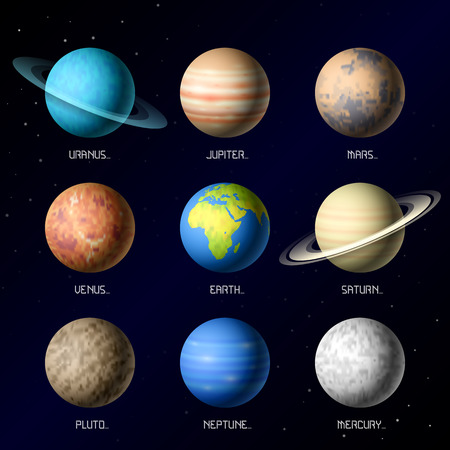 Planets of Solar System Vector