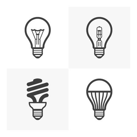 lampada: Varie lampadina icone Vettoriali