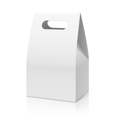 white paper bag: White blank hand cake, bread packaging paper bag