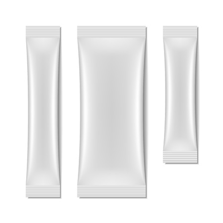 packets: White blank sachet packaging, stick pack Illustration