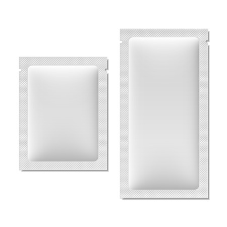 product packaging: White blank sachet packaging for food, cosmetics, or medicine