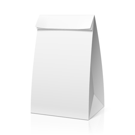white paper bag: Recicle la bolsa de papel blanco