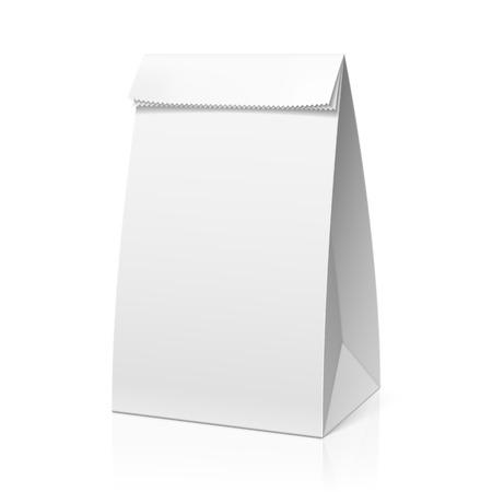 or blanc: Recycler sac de papier blanc Illustration