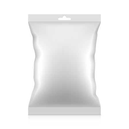 foil: Blank snacks food foil packaging bag with hang tab