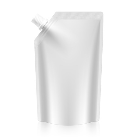 Blank spout pouch, bag foil or plastic packaging Vector