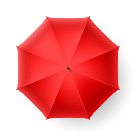 lluvia paraguas: Paraguas rojo, vista superior Vectores