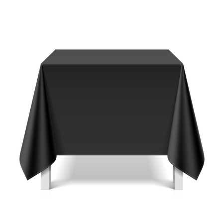 tabletop: Square table covered with black tablecloth