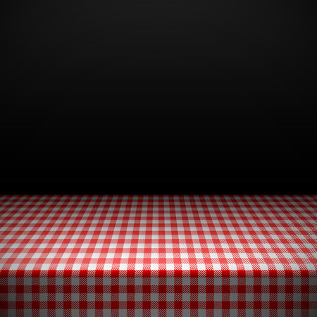 tabletop: Table covered with checkered tablecloth Illustration
