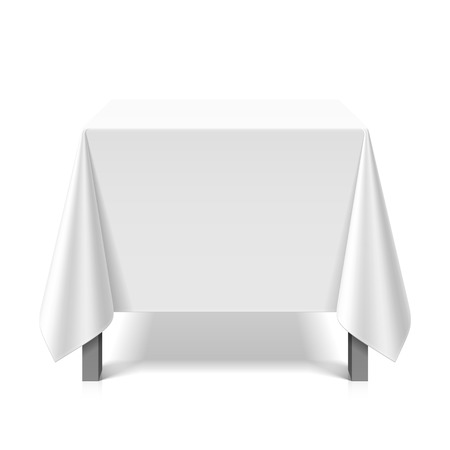 Square table covered with white tablecloth Vectores