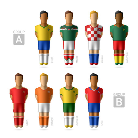 Footballers, soccer players, Group A and B  Vector