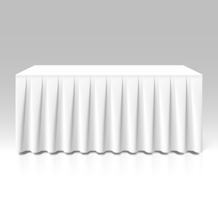 tabletop: White pleated table-skirting
