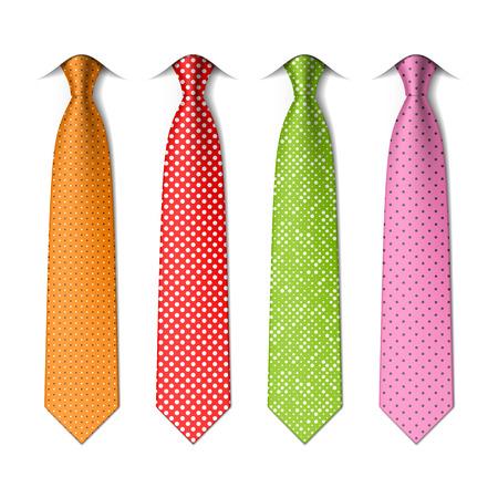 Pin, kropki jedwabne krawaty Ilustracje wektorowe